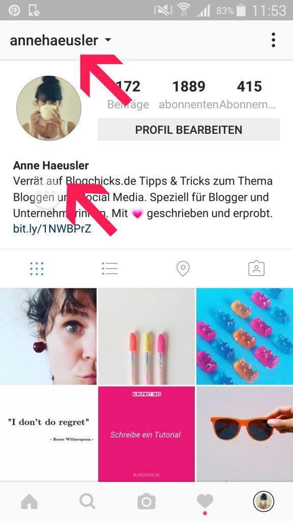 Dein Profilname bei Instagram